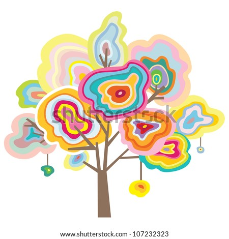 Decorative tree inspired by the beauty of agate and quartz slices. - stock vector