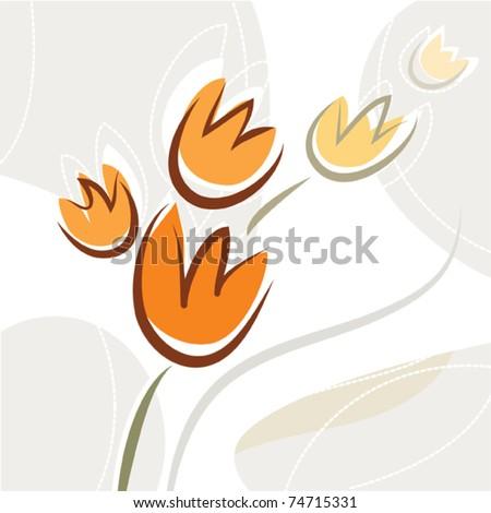 decorative tulip flower design - stock vector