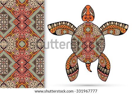 Decorative turtle with ornament and seamless floral geometric pattern, vector tribal totem animal, isolated elements for scrapbook, invitation or greeting card design  - stock vector