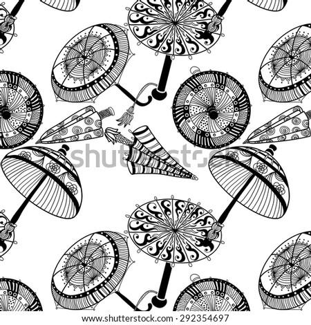 Decorative umbrella image in a cartoon style - stock vector