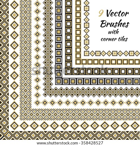 Decorative vector brushes with inner and outer corner tiles.  - stock vector
