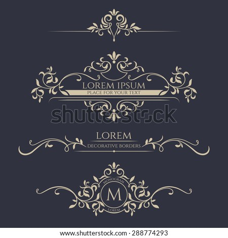 Decorative vector frame, monogram, border. Template signage, logos, labels, stickers, cards. Graphic design page. - stock vector