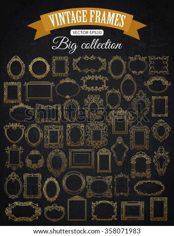 Decorative Vector Gold Frame Set with place for text. Vintage Gold Border. Vintage Picture Gold Frame. Retro vector gold frame. Antique gold frame. Ornate gold frame.  - stock vector