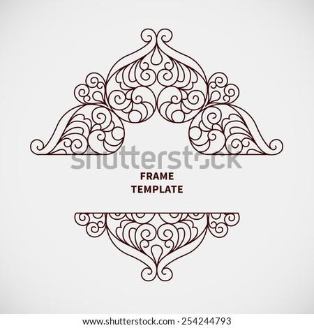 Decorative vector monogram for design template. Elegant element for logo design, place for text, line art floral frame. Black outline border. Lace illustration for invitations, greeting cards. - stock vector
