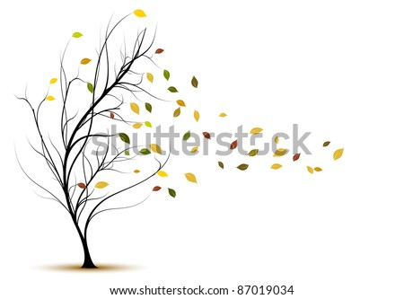 decorative vector tree silhouette in autumn with brown leaves and wind - stock vector