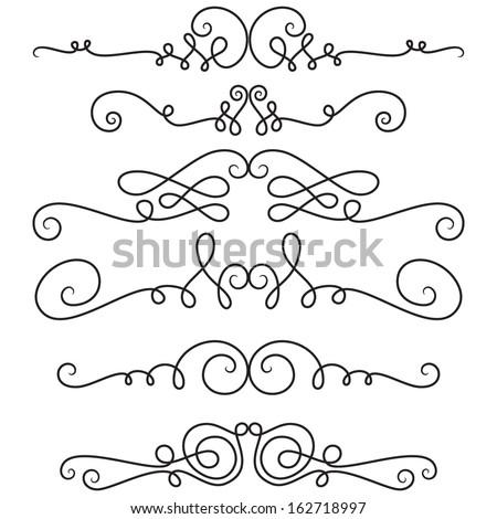 Decorative vignettes; vintage borders, scrolls; vector set  - stock vector