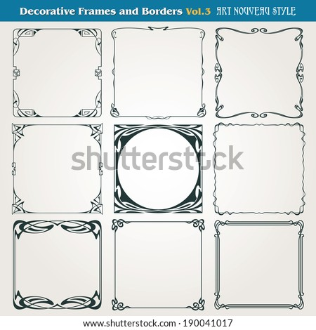 Decorative vintage borders and frames Art Nouveau style vector - stock vector