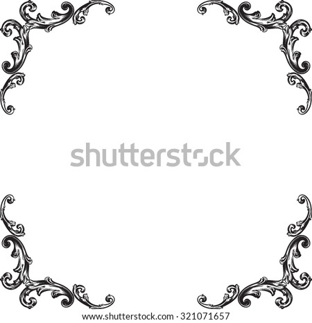 Decorative vintage borders and frames. Page decoration. Decorative floral elements, corners, borders, frame, crown. Black and white graphic style. - stock vector