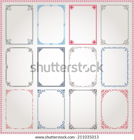 Decorative vintage frames and borders A4 proportions set #3 vector - stock vector