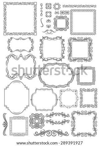 Decorative vintage frames, borders and vignette set. Vector design elements. - stock vector