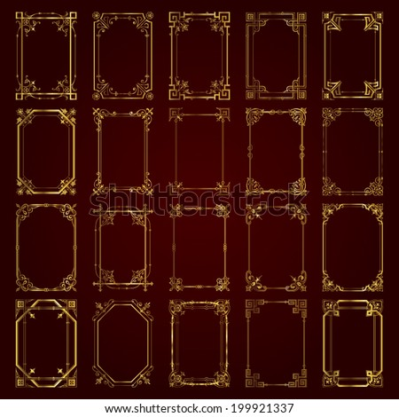 Decorative vintage frames in gold - stock vector