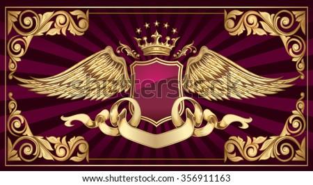 Decorative vintage golden insignia - stock vector