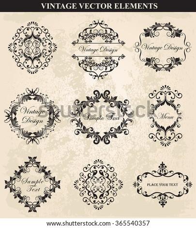 Decorative Vintage Ornament set vector.Vector Vintage Ornament  calligraphic elements, borders, page decoration. Vintage calligraphic elements. - stock vector