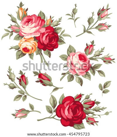 Decorative vintage rose and bud. Vector blooming flowers set for your design - stock vector