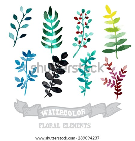 Decorative watercolor floral branches, design elements. Can be used for wedding, baby shower, mothers day, valentines day cards, invitations. Painted flower - stock vector
