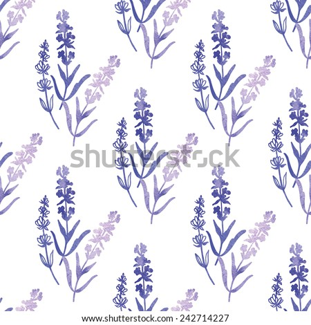 Decorative watercolor lavender pattern.  Hand painting. Watercolor. Seamless pattern for fabric, paper and other printing and web projects. - stock vector