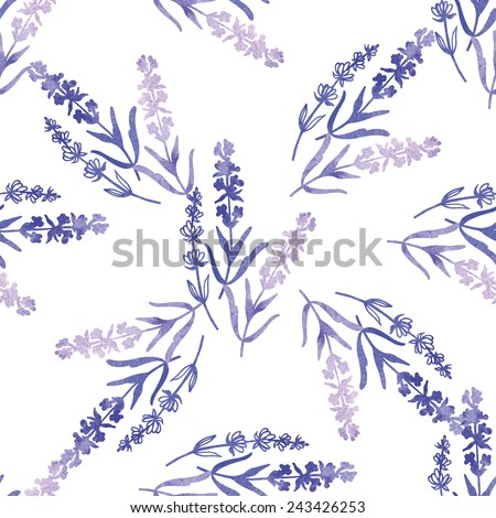 Decorative watercolor lavender seamless.  Hand painting. Watercolor. Vector illustration. Seamless pattern for fabric, paper and other printing and web projects. - stock vector