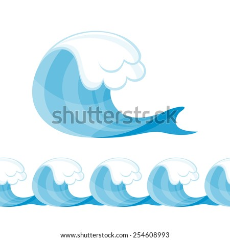 Decorative wave element and seamless horizontal border. Sea ocean ornament. - stock vector