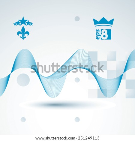Decorative wavy template, vector background with silky textile curves, motif 3d abstract backdrop. - stock vector
