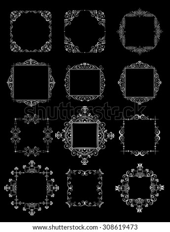 Decorative wedding frames (black and white) - stock vector