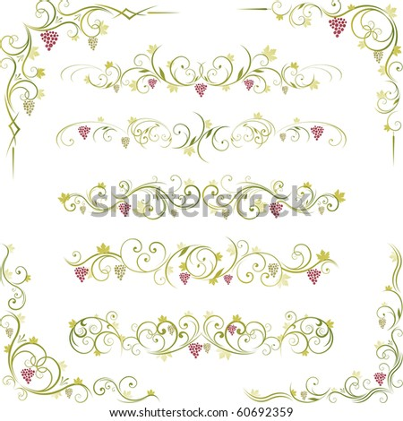 decorative wine illustration design and page dividers - stock vector