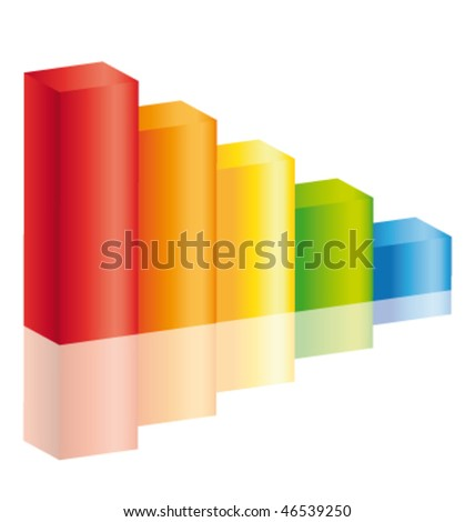 Decrease colorful stick diagram icon with reflection ll. Vector icon. - stock vector