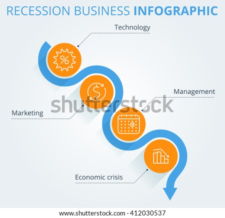 Decreasing graph concept. Arrow depict recession business and process. Flat vector illustration of downward arrow and business icons. Infographic elements, template for web, publish, social networks. - stock vector