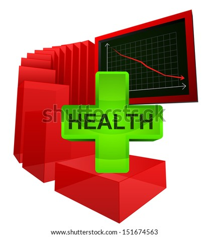 decreasing level of health care analysis vector illustration - stock vector