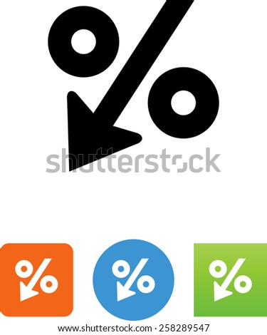 Decreasing percentage symbol for download. Vector icons for video, mobile apps, Web sites and print projects. - stock vector