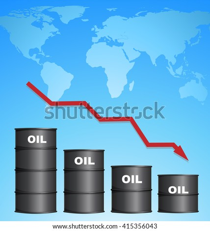 Decreasing Price of Oil With World Map Background, Credit Map by NASA - stock vector
