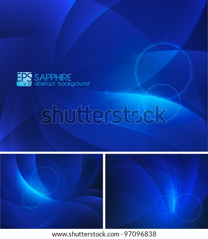 Deep blue Abstract Background. A set of deep blue abstract background. Each background separately on different layers. - stock vector