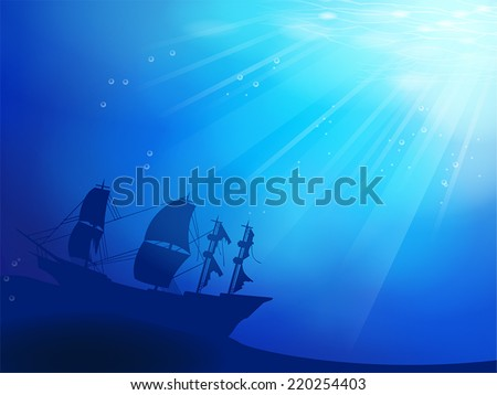 Deep blue ocean with old pirate ship shipwreck as a silhouette underwater background, create by vector.  - stock vector