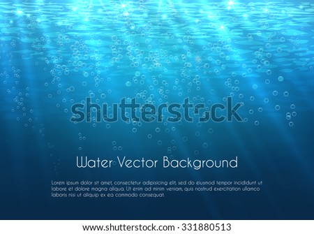 Deep blue water vector background with bubbles. Underwater sea nature illustration - stock vector