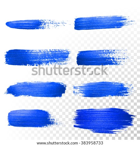 Deep blue watercolor brush strokes set. Abstract shape. Vector oil gouache paint smear on white background - stock vector