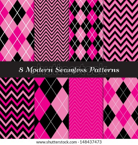 Deep Pink, Pink and Black with White Accent Lines Chevron and Argyle Patterns. Perfect for Girls Monster party or Pink Paris party or Bachelorette party. Pattern Swatches made with Global Colors. - stock vector