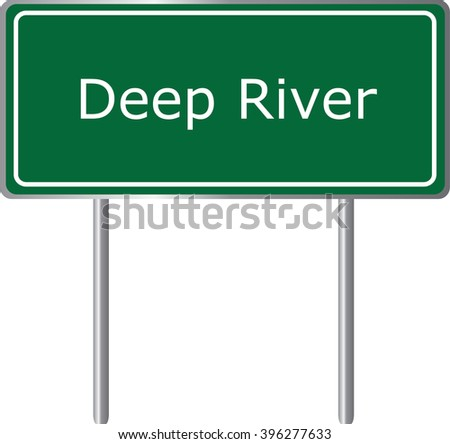 Deep River , Connecticut ,  road sign green vector illustration, road table, USA city - stock vector