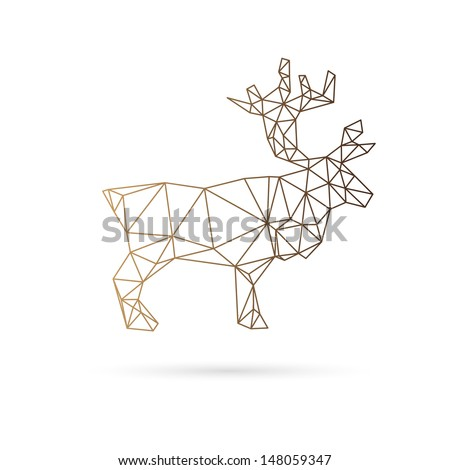 Deer abstract isolated on a white background, vector illustration - stock vector