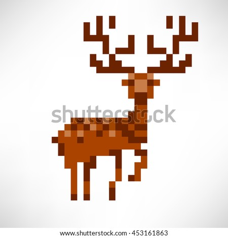 Deer abstract isolated on a white background. Vector illustration in the style of old-school pixel art. - stock vector