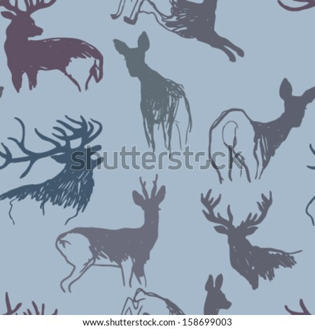 Deer and doe / Winter seamless background  - stock vector