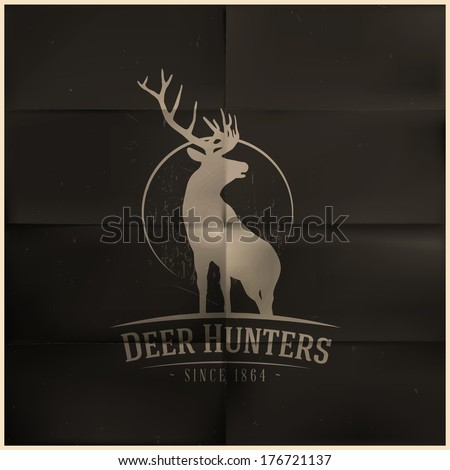 Deer buck on full moon badge - stock vector