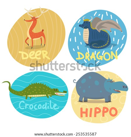 Deer, dragon, crocodile and hippo signed colorful illustrations set - stock vector