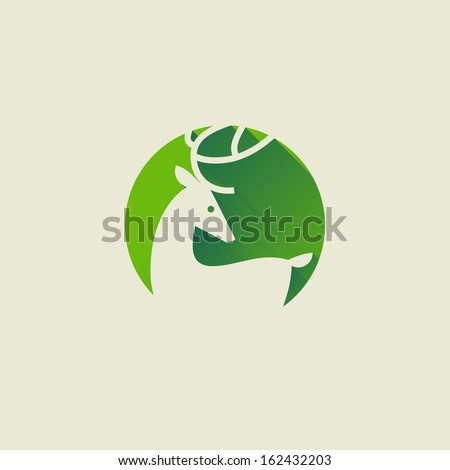 Deer. Elegant flat icon with long shadow - stock vector