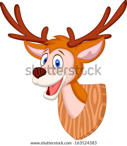 Deer head cartoon - stock vector