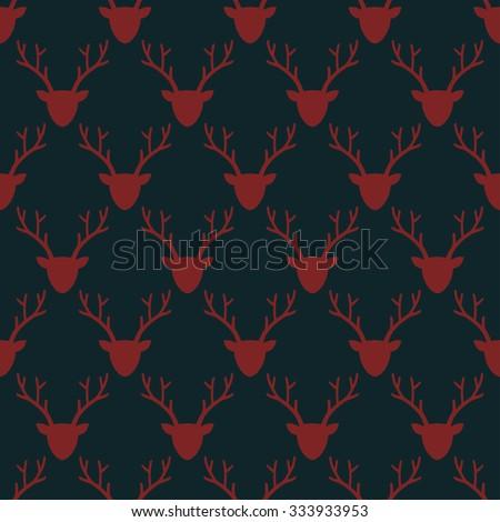 Deer head silhouette seamless pattern. Animal head texture. Wild animal head winter illustration. - stock vector