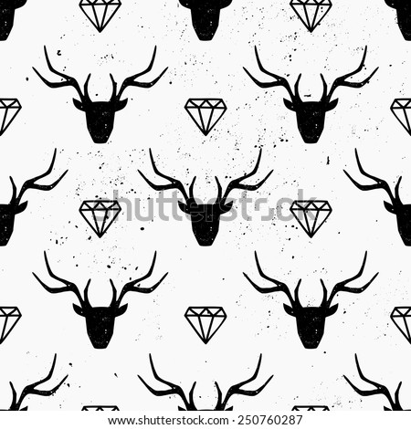 Deer heads and diamonds seamless pattern in black and white. - stock vector