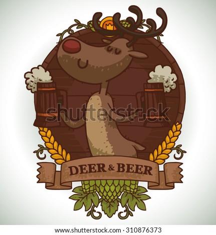 Deer holding two mugs of beer, emblem, vector - stock vector