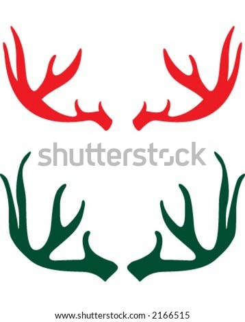 Deer horn - stock vector