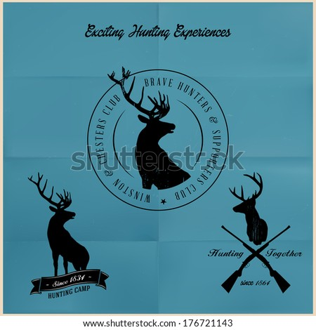 Deer Hunting badges - stock vector