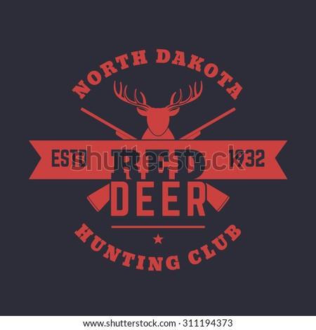 Deer Hunting Club Vintage Emblem, Logo, t-shirt print, with crossed rifles, vector illustration, eps10, easy to edit - stock vector