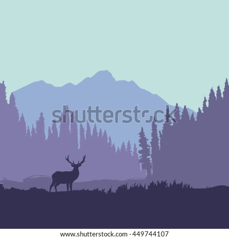 Deer in the forest near the mountain silhouette - stock vector